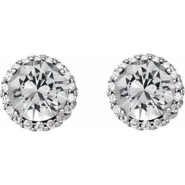 14K White 3/8 CTW Diamond Earrings