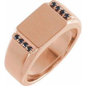 14K Yellow 1/10 CTW Diamond 11.5x10 mm Rectangle Signet Ring