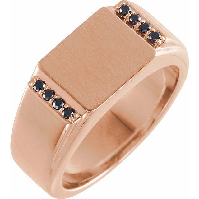 14K Rose 1/10 CTW Black Diamond 11.5x10 mm Rectangle Signet Ring