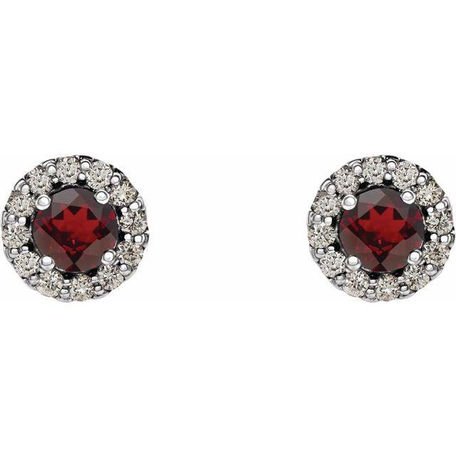 14K White Mozambique Garnet & 1/6 CTW Diamond Earrings