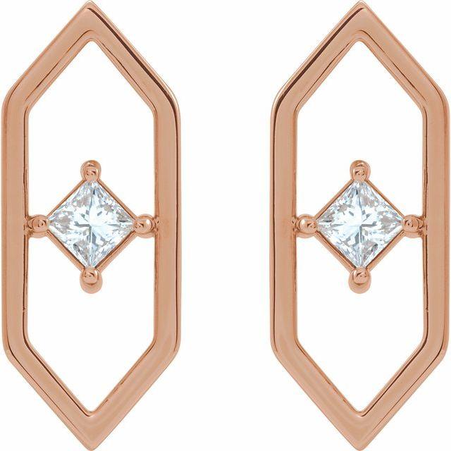 14K Rose 1/3 CTW Diamond Geometric Earrings