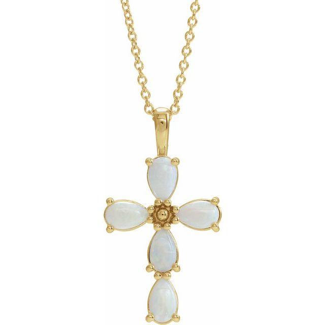 14K Yellow Cabochon White Opal Cross 16-18