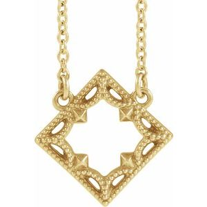 "14K Yellow Vintage-Inspired Geometric 18"" Necklace"