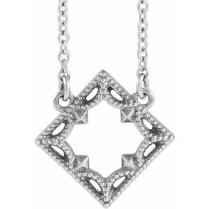 "Sterling Silver Vintage-Inspired Geometric 18"" Necklace"