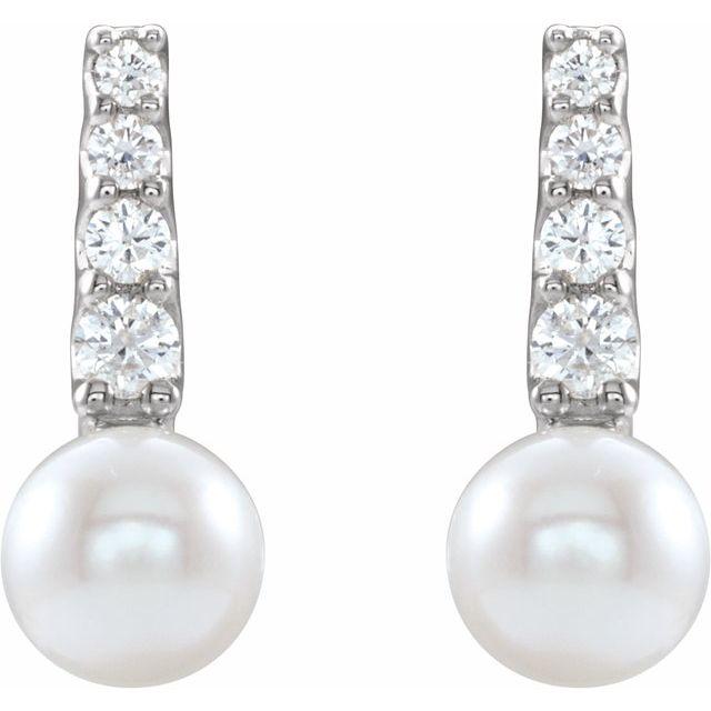 14K White Freshwater Cultured Pearl & 1/6 CTW Diamond Earrings