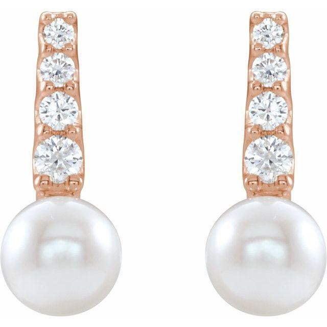 14K Rose Freshwater Cultured Pearl & 1/6 CTW Diamond Earrings