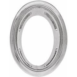 2000146 / Unset / Sterling Silver / 6 X 4 Mm / Semi-Polished / Bezel Pendant Slide
