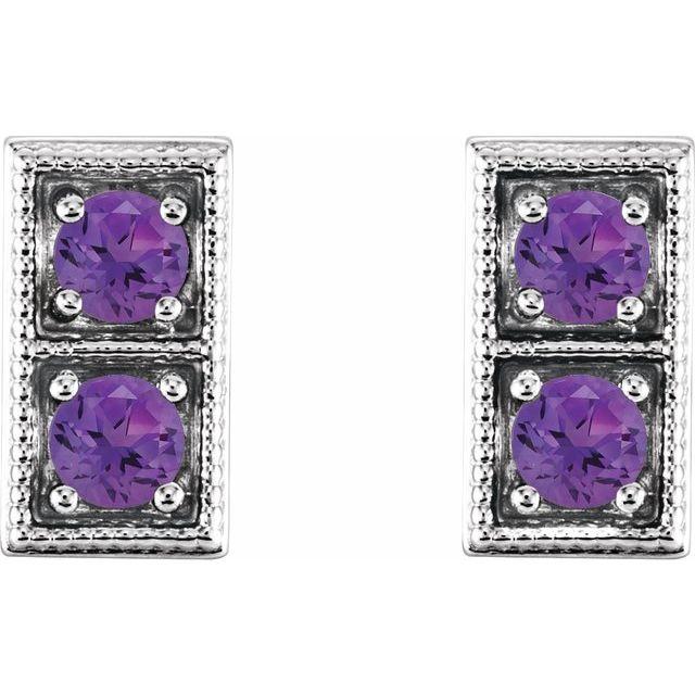 14K White Amethyst Two-Stone Earrings