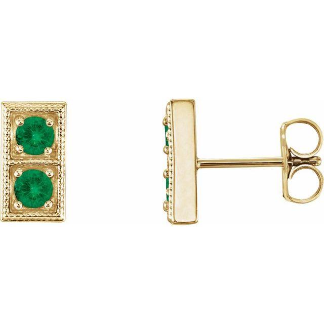 14K Yellow Emerald Two-Stone Earrings