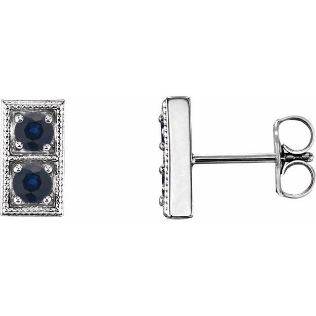 14K White Lab-Grown Blue Sapphire Two-Stone Earrings