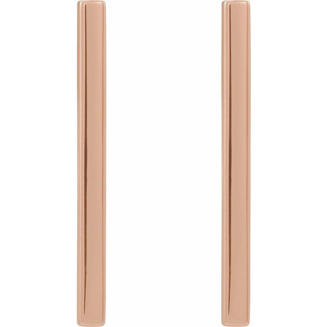 14K Rose 24x2 mm Bar Earrings