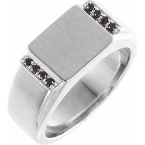 14K White 1/10 CTW Black Diamond 11.5x10 mm Rectangle Signet Ring