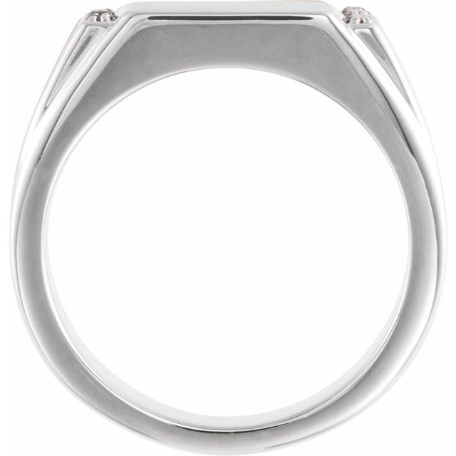 Sterling Silver 1/10 CTW Black Diamond 11.5x10 mm Rectangle Signet Ring