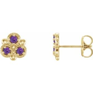 14K Yellow Amethyst Three-Stone Earrings