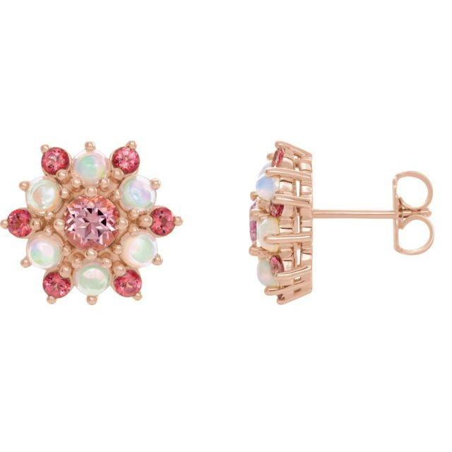 14K Rose Pink Tourmaline & Ethiopian Opal Cabochon Earrings
