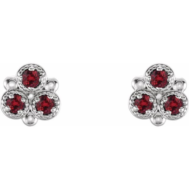 14K White Chatham® Lab-Created Ruby Three-Stone Earrings