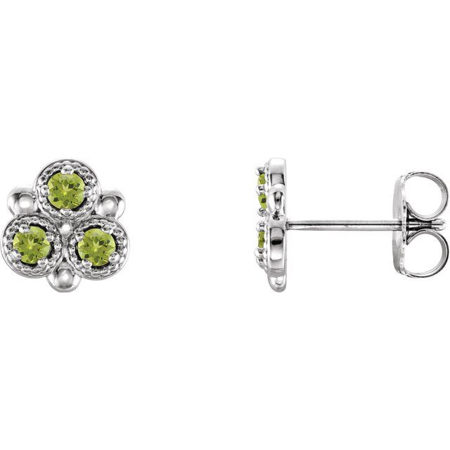 Sterling Silver Peridot Three-Stone Earrings