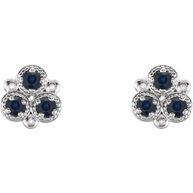 14K White Blue Sapphire Three-Stone Earrings