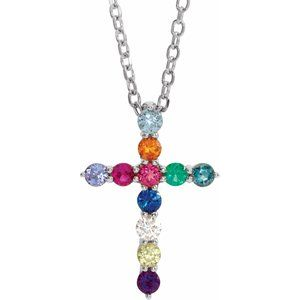 "14K White 14.6x10.5 mm .03 CT Multi-Stone Cross 16-18"" Necklace"