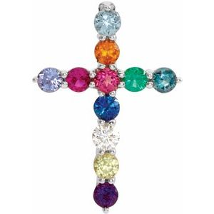 14K White 14.6x10.5 mm .03 CT Multi-Stone Cross Pendant