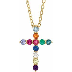 "14K Yellow 14.6x10.5 mm .03 CT Multi-Gemstone Cross 16-18"" Necklace"