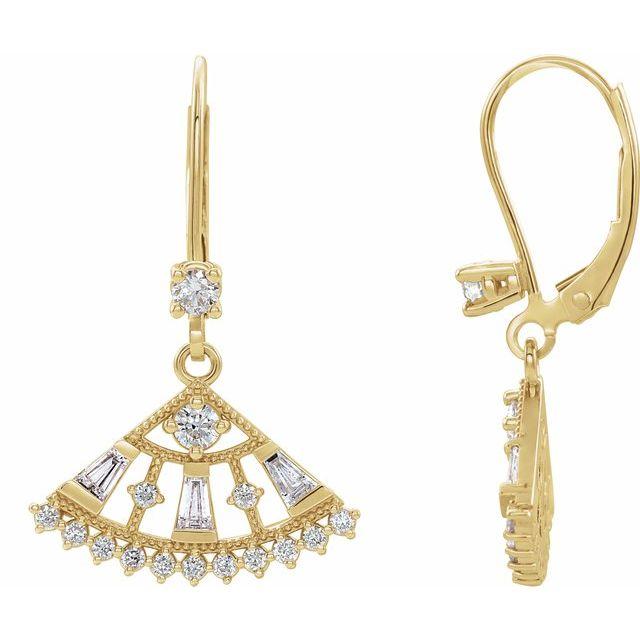 14K Yellow 3/4 CTW Diamond Lever Back Fan Earrings