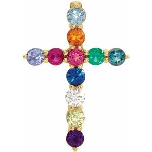 14K Yellow 14.6x10.5 mm .03 CT Multi-Stone Cross Pendant