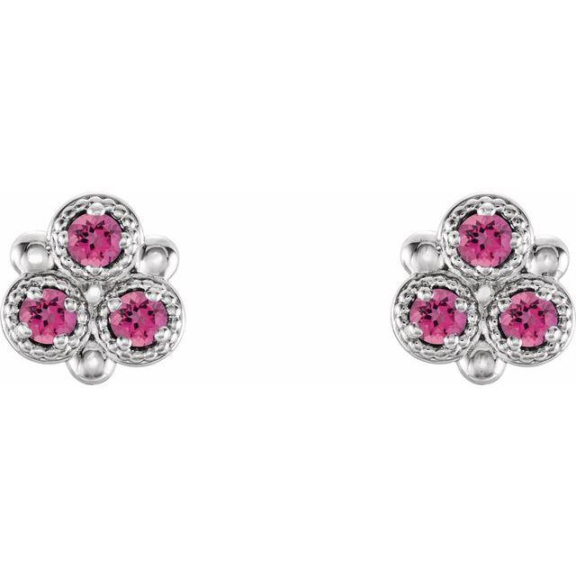 Sterling Silver Pink Tourmaline Three-Stone Earrings