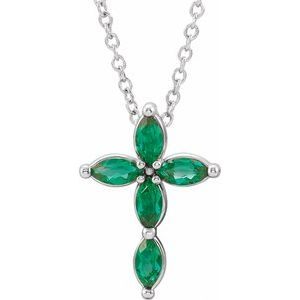 14K White Emerald Cross Necklace