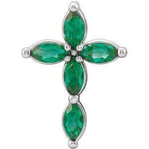 14K White Lab-Grown Emerald Cross Pendant