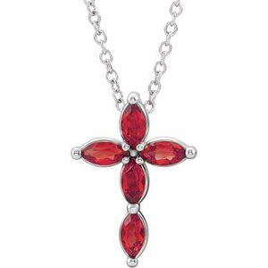 14K White Ruby Cross Necklace
