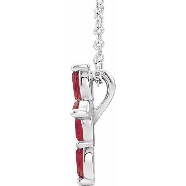 14K White Ruby Cross Necklace