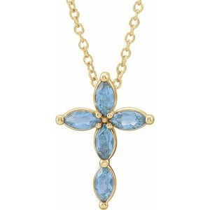14K Yellow Aquamarine Cross Necklace