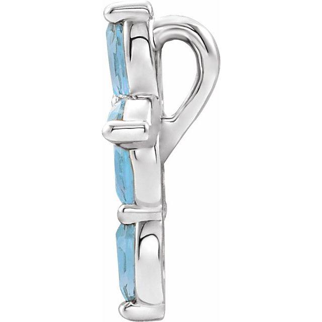 14K White Aquamarine Cross Pendant
