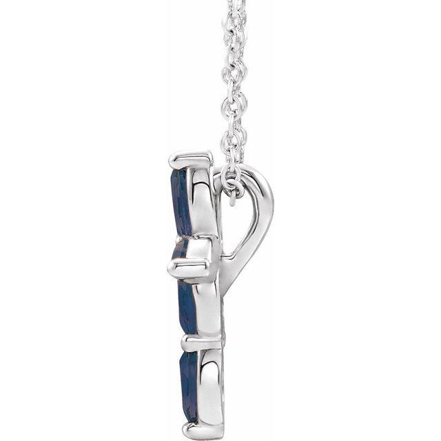 14K White Blue Sapphire Cross Necklace