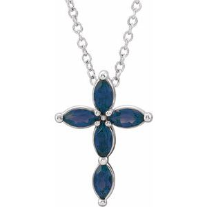14K White Blue Sapphire Cross Necklace