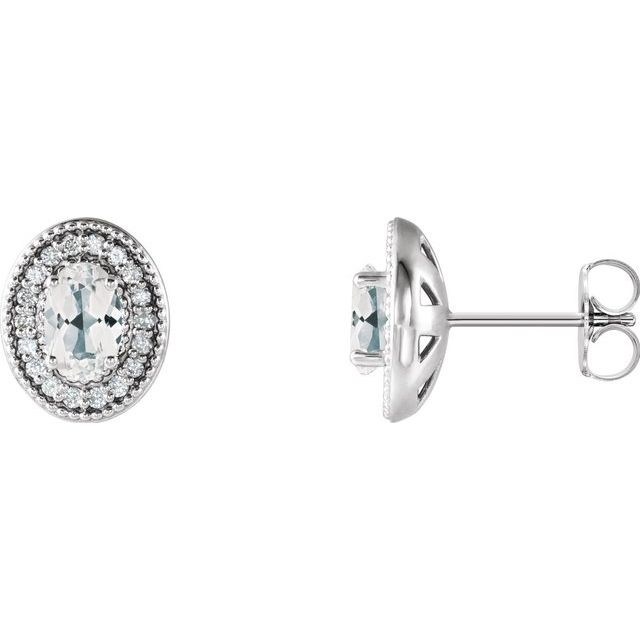 14K White Sapphire & 1/5 CTW Diamond Halo-Style Earrings