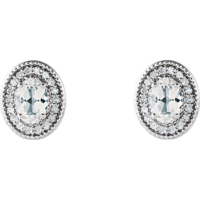 14K White Sapphire & 1/5 CTW Diamond Halo-Style Earrings