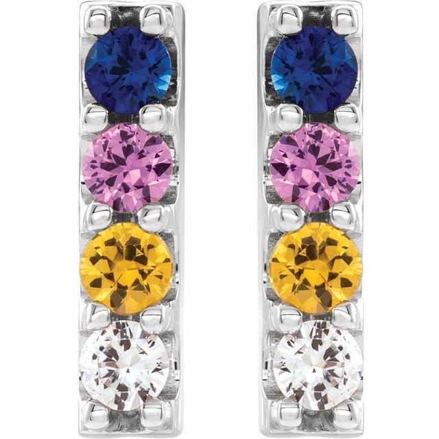 Sterling Silver Multi-Color Sapphire Bar Earrings