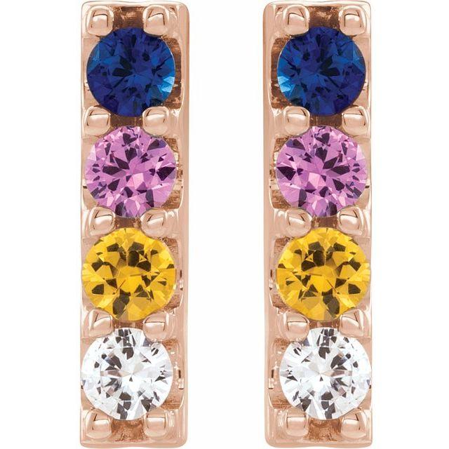 14K Rose Multi-Color Sapphire Bar Earrings