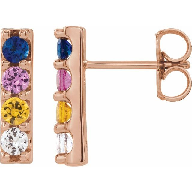 14K Rose Multi-Color Sapphire Bar Earrings