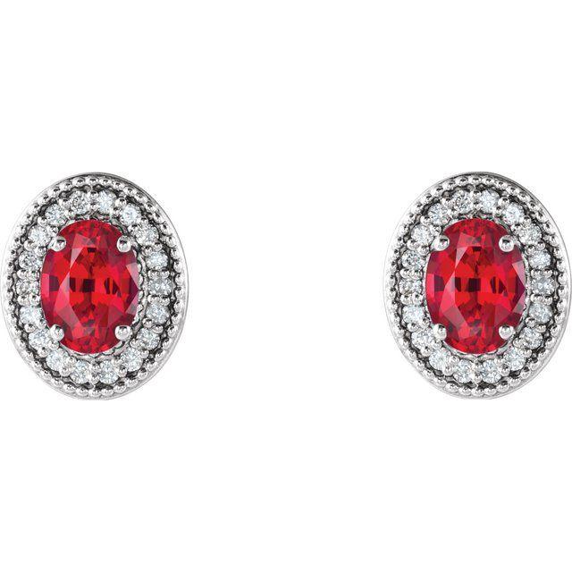 14K White Lab-Grown Ruby & 1/5 CTW Diamond Halo-Style Earrings