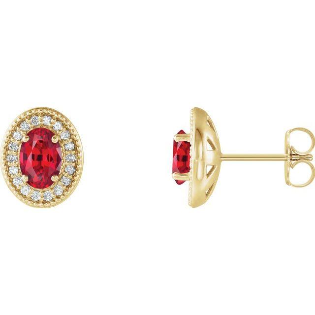 14K Yellow Lab-Grown Ruby & 1/5 CTW Diamond Halo-Style Earrings