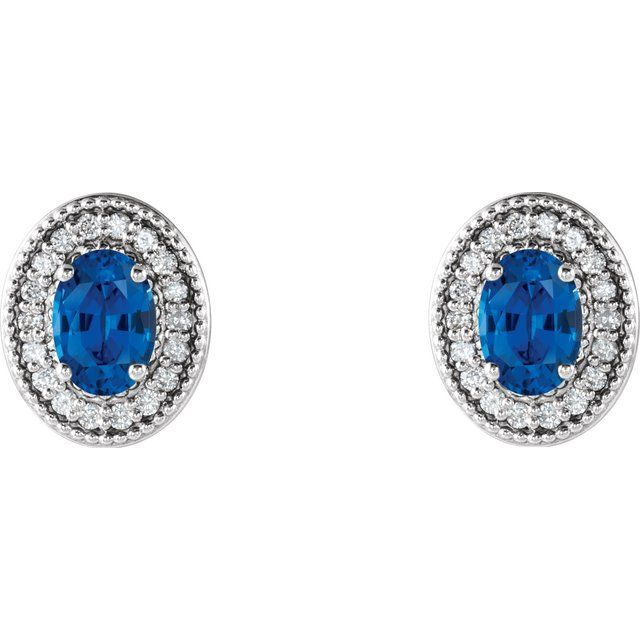 14K White 6x4 mm Lab-Grown Blue Sapphire & 1/5 CTW Natural Diamond Halo-Style Earrings