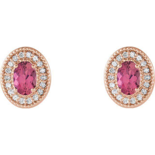 14K Rose Pink Tourmaline & 1/5 CTW Diamond Halo-Style Earrings
