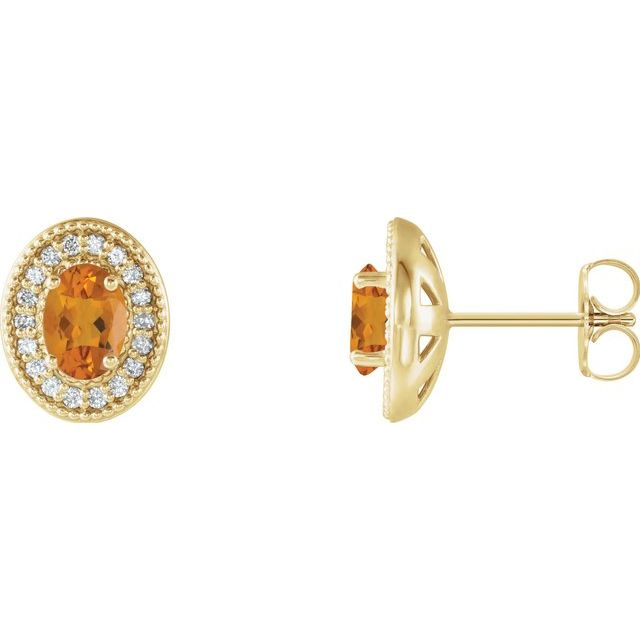 14K Yellow 6x4 mm Natural Citrine & 1/5 CTW Natural Diamond Halo-Style Earrings