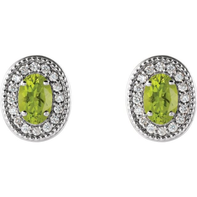 Sterling Silver Peridot & 1/8 CTW Diamond Halo-Style Earrings