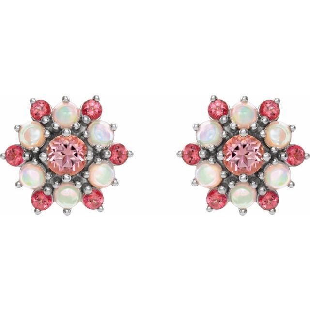 14K White Pink Topaz & Ethiopian Opal Cabochon Earrings