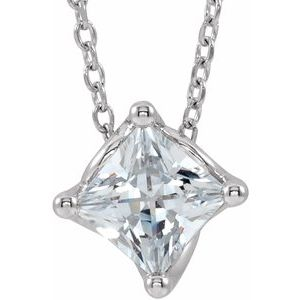 "14K White Sapphire Solitaire 16-18"" Necklace"