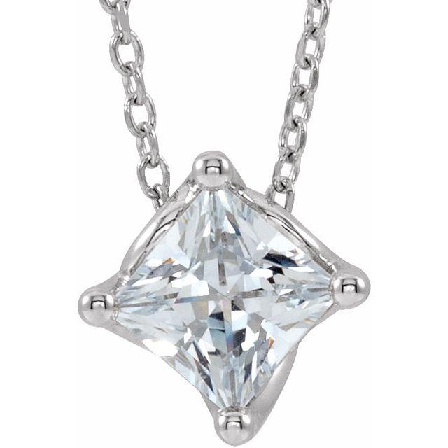 14K White 1/2 CT Diamond Solitaire 16-18